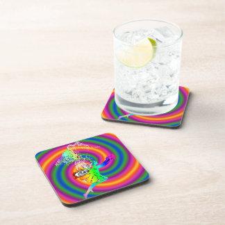 Multi-colored fairy drink coaster