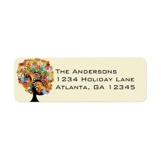 Multi Colored Flower Love Tree Return Address Custom Return Address Label
