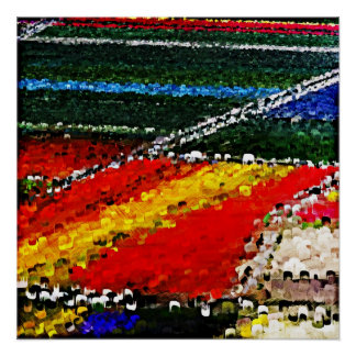 Multi Colored Flowers Field Painting Poster