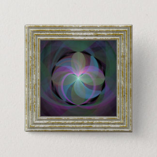 Multi Colored Fractal Fan 2 Inch Square Button