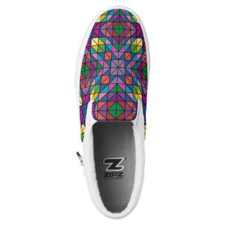 Multi-Colored Geometric Design Slip-On Sneakers