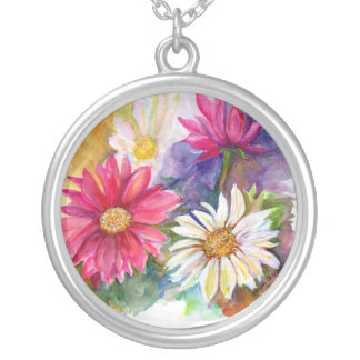Multi-colored Gerber Daises Silver Plated Necklace
