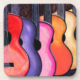 Multi Colored Guitars Coasters