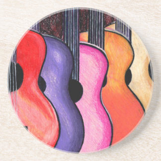 Multi Colored Guitars Sandstone Coaster Set