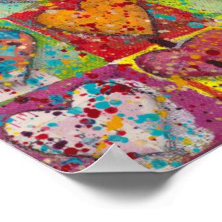 Multi colored heart poster