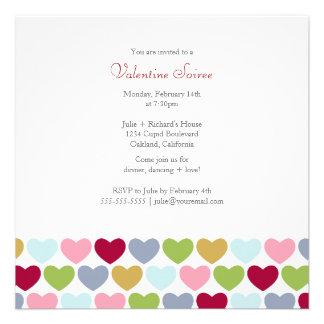Multi Colored Hearts Valentine's Party Invitation
