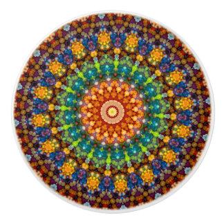 Multi-Colored Jellybean Mandala Ceramic Knob