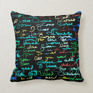 Multi Colored Love Words on Black Grunge Graffiti Throw Pillow