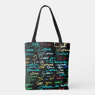Multi Colored Love Words on Black Grunge Graffiti Tote Bag