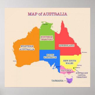 Multi-Colored Map of Australia Poster