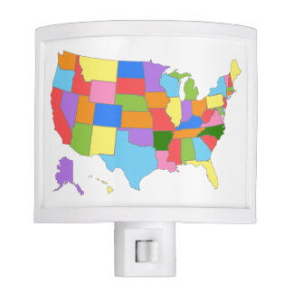 Multi-Colored Map Of the United States Night Light