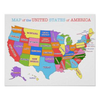 Multi-Colored Map Of the United States Poster