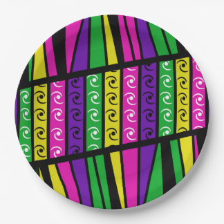 Multi Colored Modern Retro Paper Plate