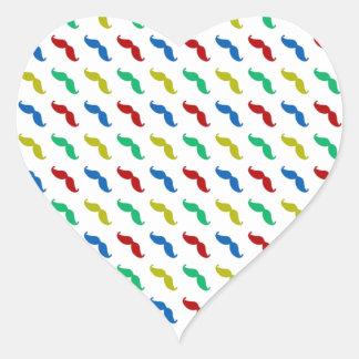 Multi Colored  Mustache Pattern Heart Sticker