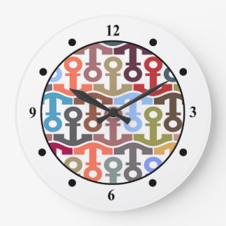 Multi Colored Nautical Anchor Pattern Large Clock