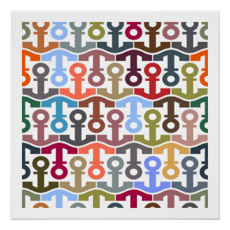 Multi Colored Nautical Anchor Pattern Perfect Poster