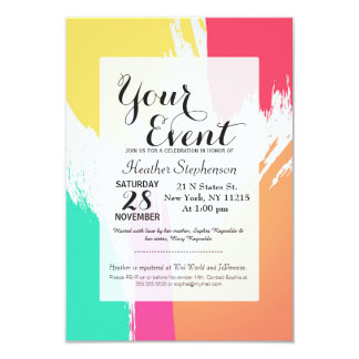 "Multi-Colored Paint Brushstrokes 3.5"" X 5"" Invitation Card"
