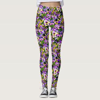 multi-colored pansies leggings