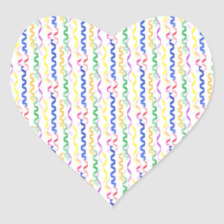 Multi Colored Party Streamers on White Heart Sticker