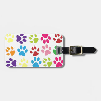 Multi-Colored Paw Prints Luggage Tag