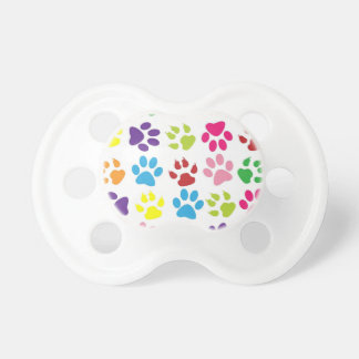 Multi-Colored Paw Prints Pacifier