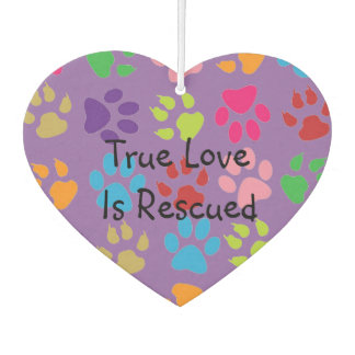 Multi-Colored Pawprint Heart Air Freshener