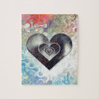 Multi Colored Pencil Sketching Abstract Heart Jigsaw Puzzle