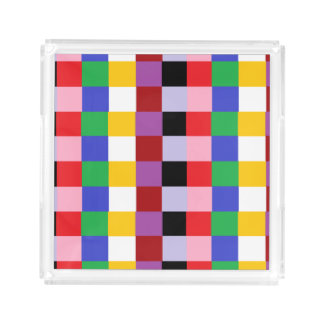 Multi Colored Pixels Kitchen Food Serving Tray