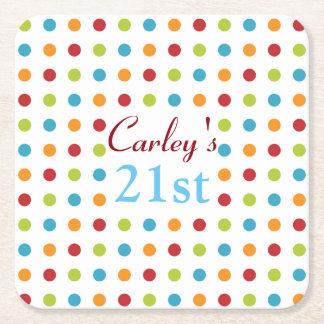 Multi-Colored Polka Dot Square Paper Coaster