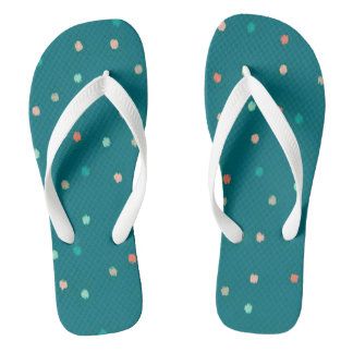 Multi-Colored Polka Dots Flip Flops