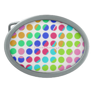 multi-colored polka dots oval belt buckles