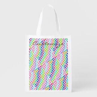 multi-colored polka dots Thunder_Cove Reusable Grocery Bag