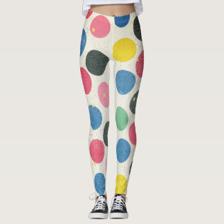 Multi-colored polka dots with gold dots and stars leggings
