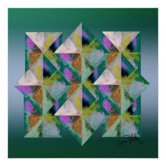 Multi-Colored Prisms on Green Poster