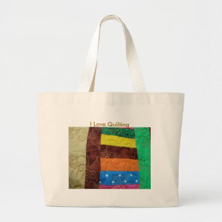 Multi-colored Quilt Block, I Love Quilting Large Tote Bag