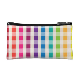 Multi-Colored Rainbow Candy gingham pattern Makeup Bag
