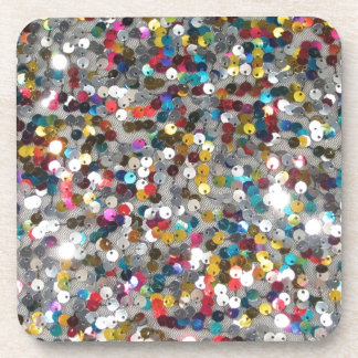 Multi Colored Sequin Customize Add Text Beverage Coaster