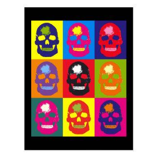 Multi Colored Skull Silk Screen Postcard