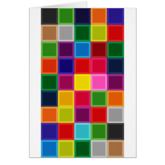 Multi Colored Squares and Stripes Girly Card