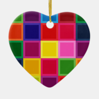 Multi Colored Squares and Stripes Girly Ceramic Heart Ornament