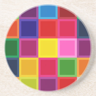 Multi Colored Squares and Stripes Girly Coaster