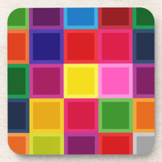 Multi Colored Squares and Stripes Girly Coasters