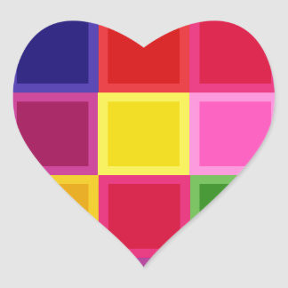 Multi Colored Squares and Stripes Girly Heart Sticker