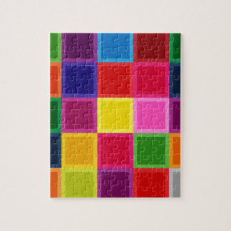 Multi Colored Squares and Stripes Girly Jigsaw Puzzle