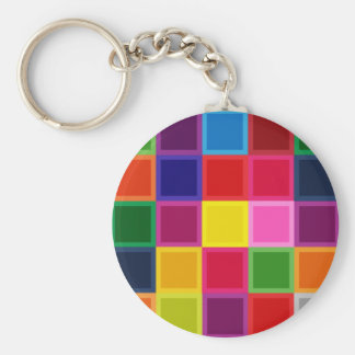 Multi Colored Squares and Stripes Girly Keychain