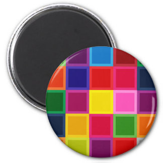 Multi Colored Squares and Stripes Girly Magnet