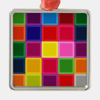 Multi Colored Squares and Stripes Girly Metal Ornament