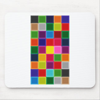 Multi Colored Squares and Stripes Girly Mouse Pad