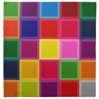 Multi Colored Squares and Stripes Girly Napkin