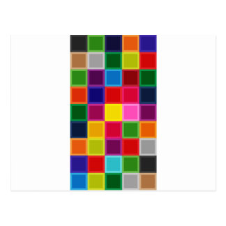 Multi Colored Squares and Stripes Girly Postcard